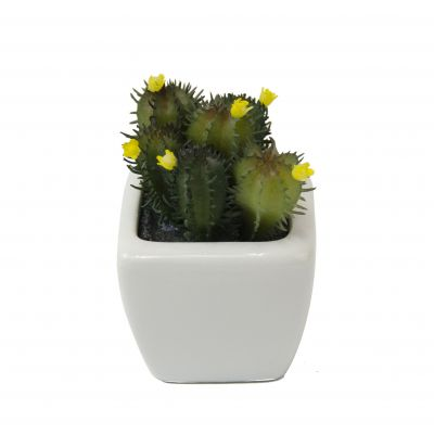 Sztuczna Roslina Mini Kaktus W Ceramicznej Doniczce 56644
